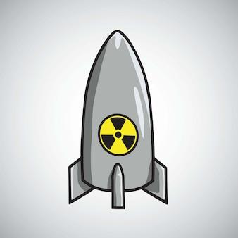 Vetor de bomba de míssil nuclear atômica foguete