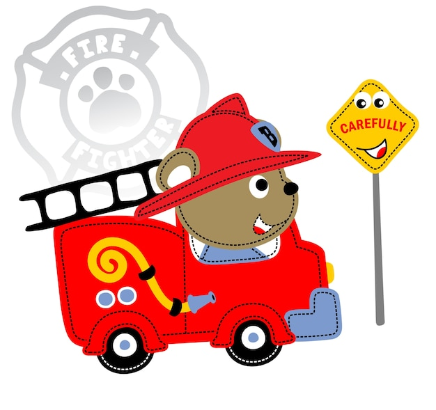 Vetor de bombeiro de desenhos animados