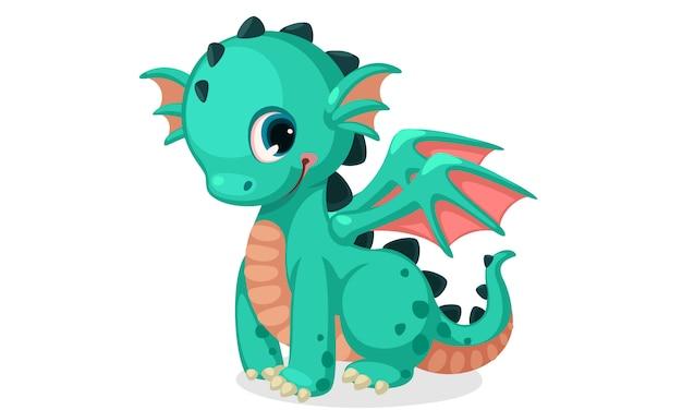 Vetor de bonito dragão verde dos desenhos animados