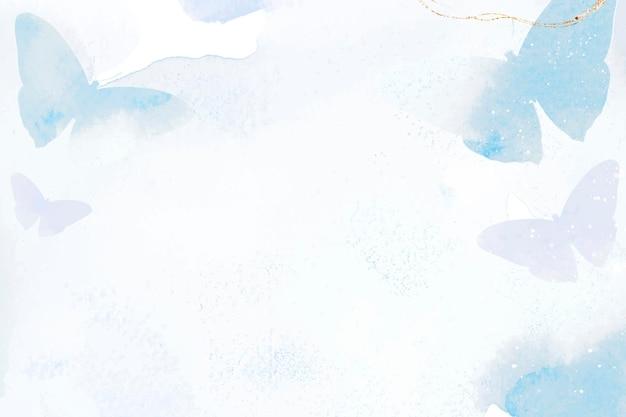 Vetor de borda aquarela de fundo de borboleta