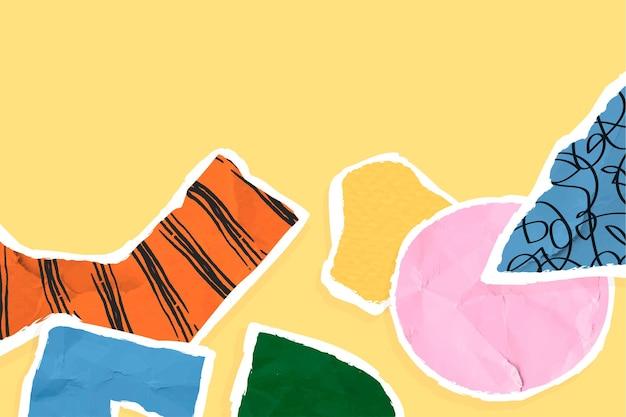 Vetor de borda de papel rasgado colorido em fundo amarelo
