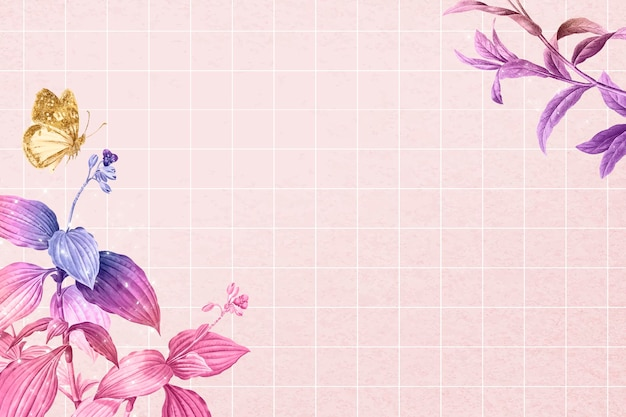 Vetor de borda estética de fundo de flor, remixado de imagens vintage de domínio público