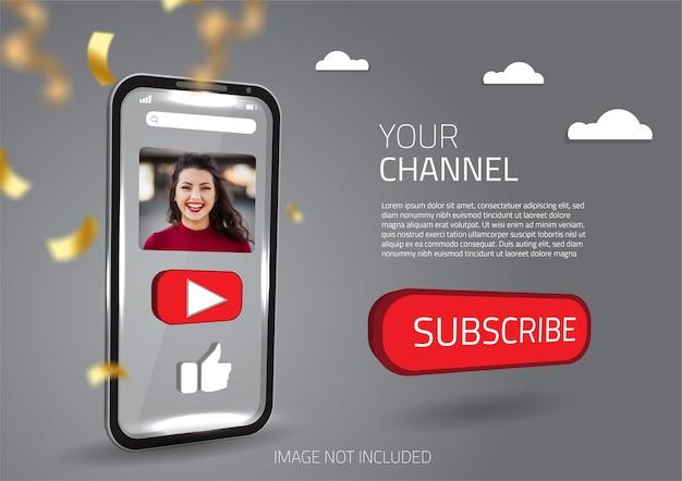 Vetor de botão de mídia social 3d modelo de mídia social para celular inteligente