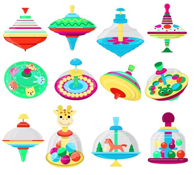 Vetor de brinquedo superior crianças whirligig cantarolando spinner colorido girando jogando jogo com conjunto de caracteres peg-top de giro infantil dos desenhos animados chicote-top e whirlabout
