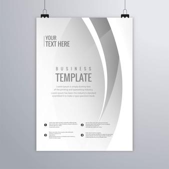 Vetor de brochura de modelo empresarial moderno cinza ondulado