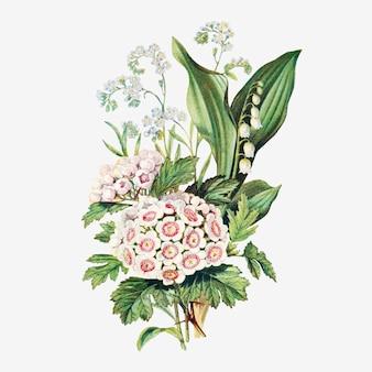 Vetor de buquê de flores de verão vintage