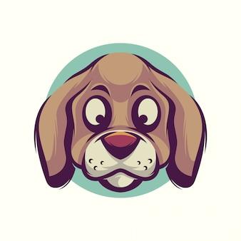 Vetor de cabeça de cachorro fofo