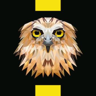 Vetor de cabeça de coruja poligonal baixa