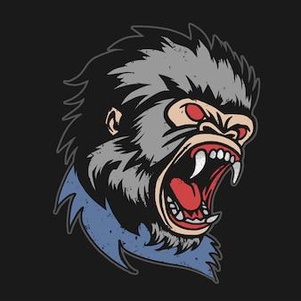 Vetor de cabeça de gorila irritado