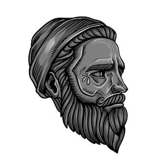 Vetor de cabeça de hipster de barba
