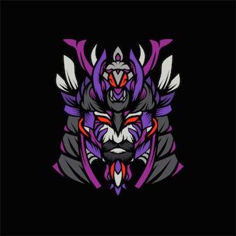 Vetor de cabeça de samurai viking