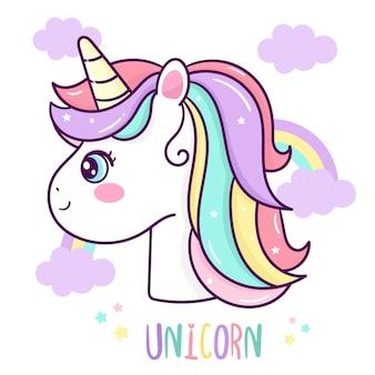 Vetor de cabeça de unicórnio fofo com desenho de arco-íris