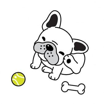 Vetor de cachorro francês bulldog bola de tênis osso filhote de cachorro dos desenhos animados
