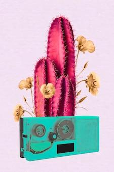 Vetor de cacto neon retrô de colagem, arte de mídia mista funky de efeito negativo