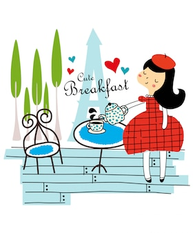 Vetor de café da manhã fofo