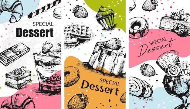 Vetor de café ou padaria de sobremesas doces especiais