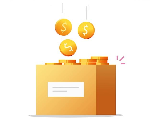 Vetor de caixa de dinheiro como doação de caridade ou economia cheia de moedas em dinheiro
