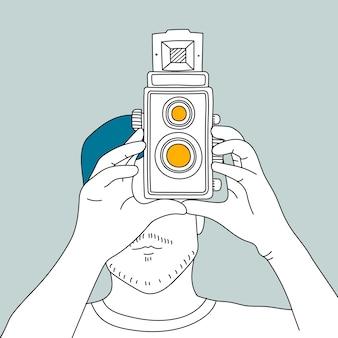 Vetor de câmera de filme analógico