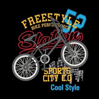 Vetor de camisa de t freestyle de bicicleta