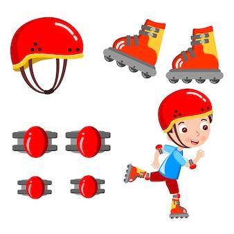 Vetor de capacete de patinação de menino