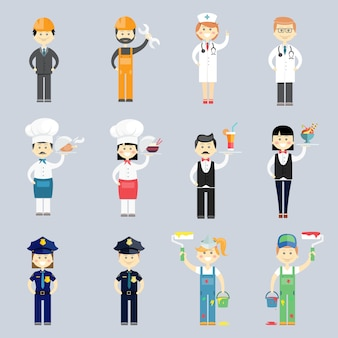 Vetor de caráter profissional masculino e feminino definido com médico e enfermeiro cozinheiro e chef garçom e garçonete sargentos da polícia decoradores de interiores e trabalhadores da construção civil