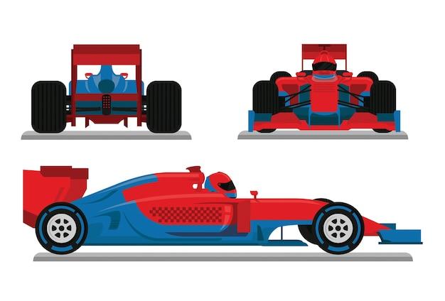 Vetor de carro de corrida azul vermelho
