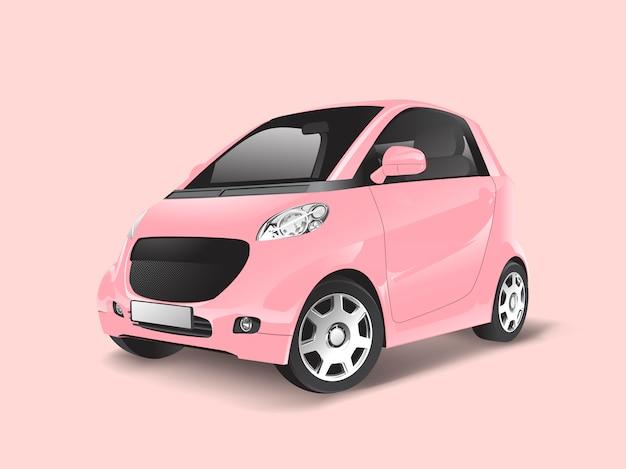 Vetor de carro híbrido compacto rosa
