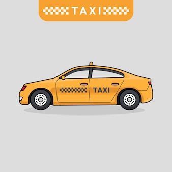 Vetor de carro táxi em design plano