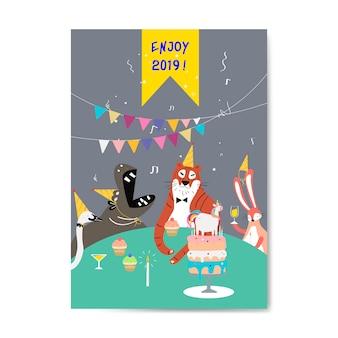 Vetor de cartão com tema animal