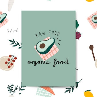 Vetor de cartão de abacate alimentos orgânicos crus