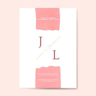 Vetor de cartão de convite de casamento rosa