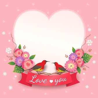 Vetor de cartão de dia dos namorados com flores buquê e pássaros amante no quadro de coração.