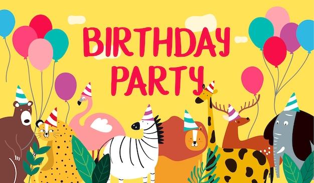 Vetor de cartão de feliz aniversário animal tema