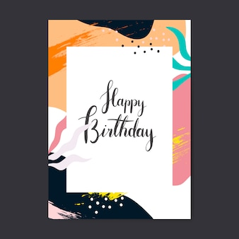 Vetor de cartão de feliz aniversário de design colorido memphis