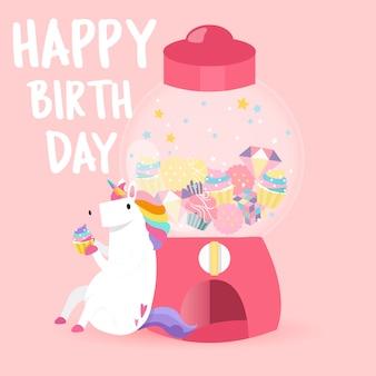 Vetor de cartão de feliz aniversário unicórnio fofo