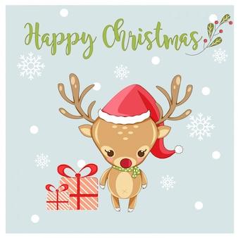 Vetor de cartão de feliz natal com giro veados e floco de neve