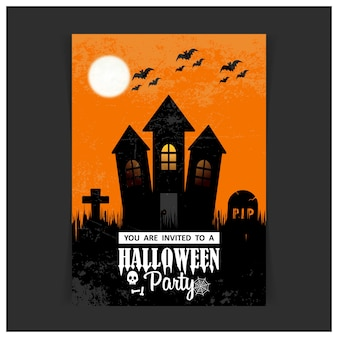Vetor de cartão de projeto de convite de festa de halloween