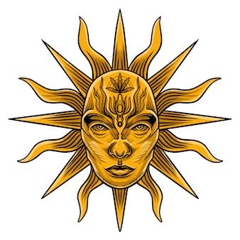 Vetor de cartão de tarô de sol