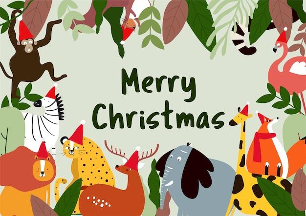 Vetor de cartão de tema animal feliz natal