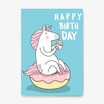 Vetor de cartão de unicórnio de feliz aniversário