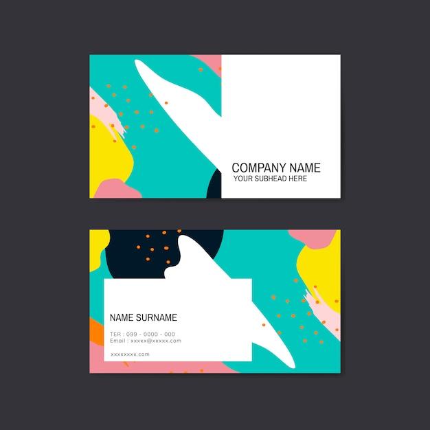 Vetor de cartão de visita colorido padrão memphis
