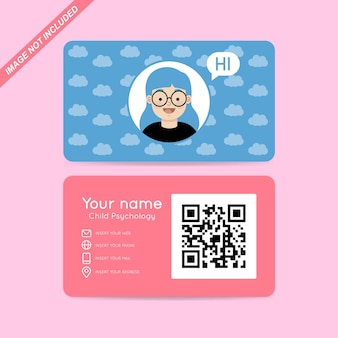 Vetor de cartão de visita de psicologia infantil