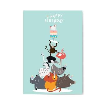 Vetor de cartão postal de aniversário com tema animal