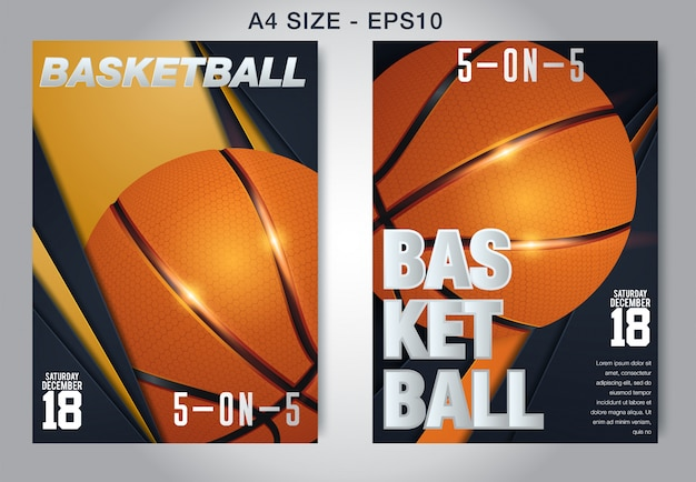 Vetor de cartaz de basquete.