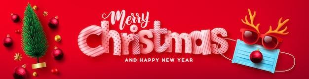 Vetor de cartaz ou banner de feliz natal e feliz ano novo com a árvore de natal e o símbolo de renas da máscara médica