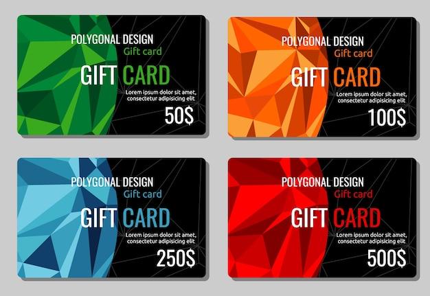 Vetor de cartões de desconto de presente. conjunto de cartões-presente com fundos poligonais multicoloridos, ilustração de