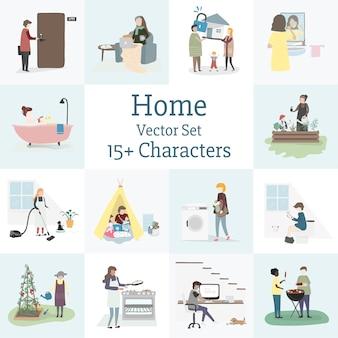 Vetor de casa e família