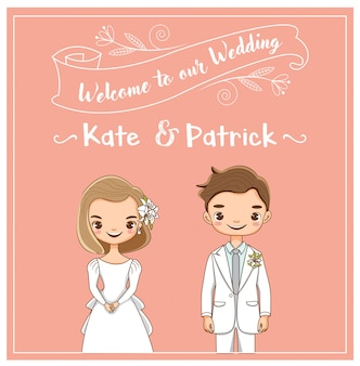Vetor de casal de casamento bonito para cartão de convites