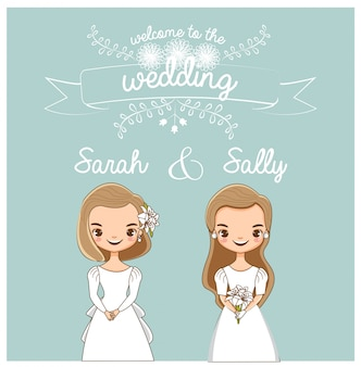 Vetor de casal lgbt bonito para cartão de convites de casamento