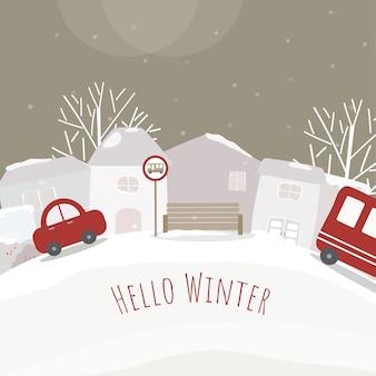 Vetor de casas, carros e florestas cobertas de neve